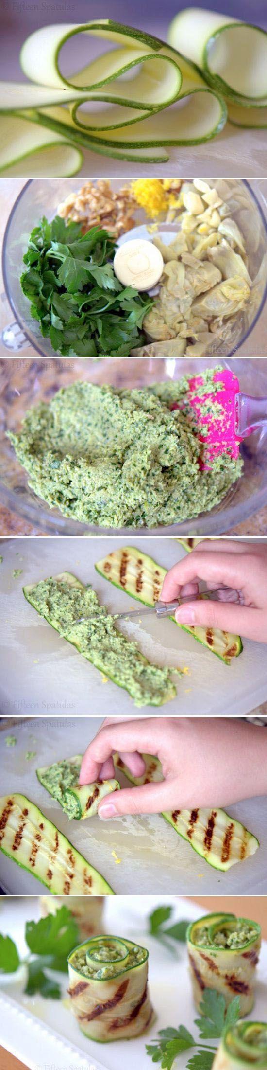 Rollitos de calabacines a la parrilla rellenos de una pasta hecha de alcachofa, perejil, ajo, atun y millo
