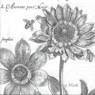 Fleurs Nostalgiques servítky nostalgické, vintage, kvety, včely, čierne-biele