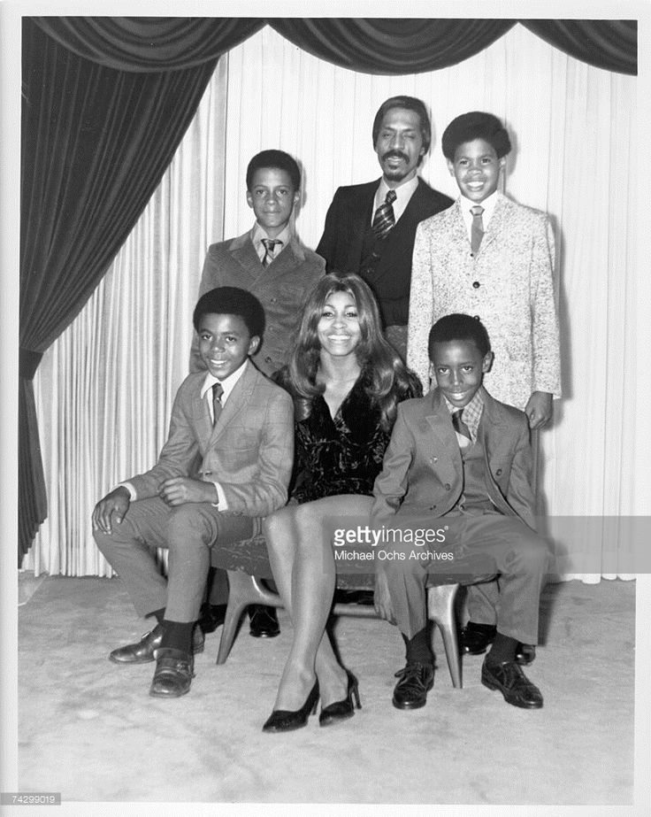 Ike & Tina Turner pose for a portrait with their son and step-sons in circa 1972. Clockwise from bottom left: Michael Turner (Son of Ike & Lorraine Taylor), Ike Turner, Jr. (Son of Ike & Lorraine Taylor), Ike Turner, Craig Hill (Son of Tina & Raymond Hill), Ronnie Turner (Son of Ike & Tina).