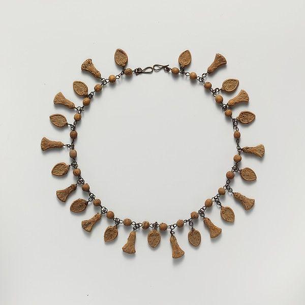 Terracotta necklace with palmette and lotus pendants; 3rd c BCE, Hellenistic; Culture: Etruscan; Medium: Terracotta