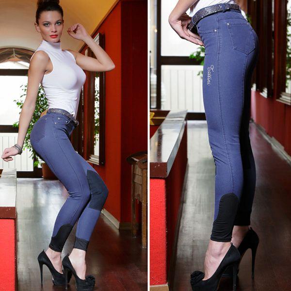 Pantalone da donna in tessuto tecnico microfibra bielastico per il massimo comfort, effetto lavato. Arricchiti da rivetti in strass sulle tasche. Inserto elastico alla caviglia e toppe di rinforzo al ginocchio in suède elasticizzato.