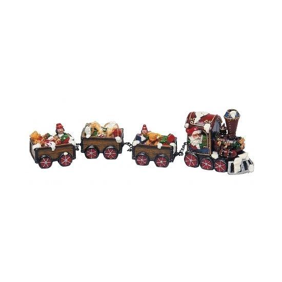 Kerstdorp trein met kerstman. Deze trein is ideaal voor in een kerstdorp. Afmetingen: ongeveer 30 cm. Materiaal: polyresin.