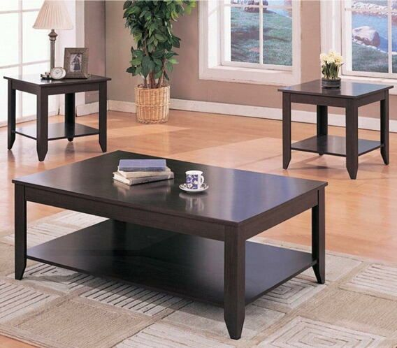 "3 pc espresso finish wood coffee and end table set with lower shelf.  Coffee table measures 47"" x 30"" x 18"" H.  End tables measure 24"" x 24"" x 22"" H.  Some assembly required."
