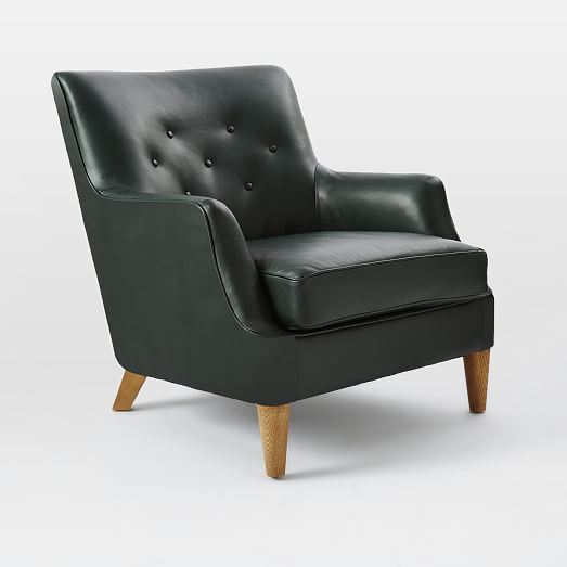 Livingston Leather Club Chair, Olive   west elm
