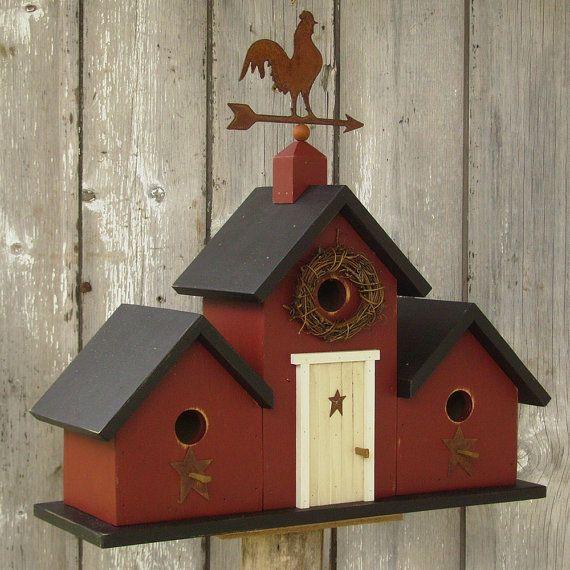 Primitive Birdhouse Weather Vane Rooster Three Gable Rusty Stars