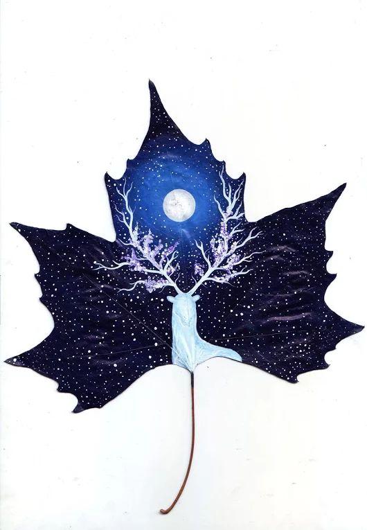 des peintures sur des feuilles d'arbres par un couple d'artistes Georgien - Dessein de dessin