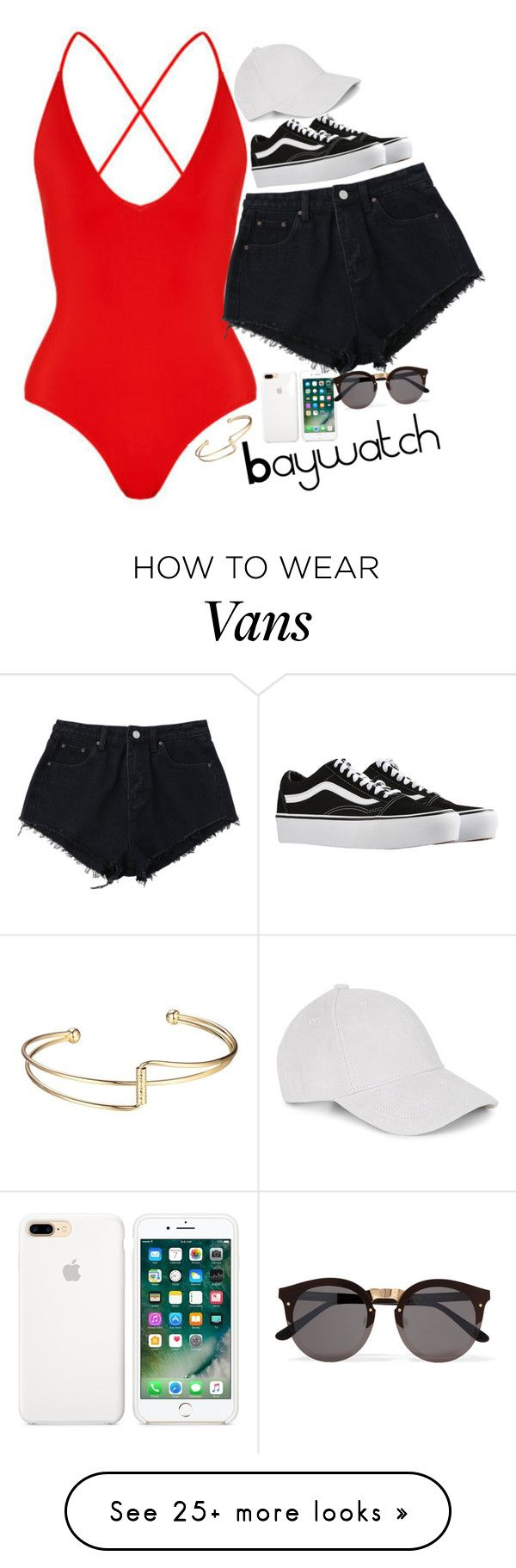 """Baywatch today!!"" by smokeylovebae on Polyvore featuring Vans and Illesteva"
