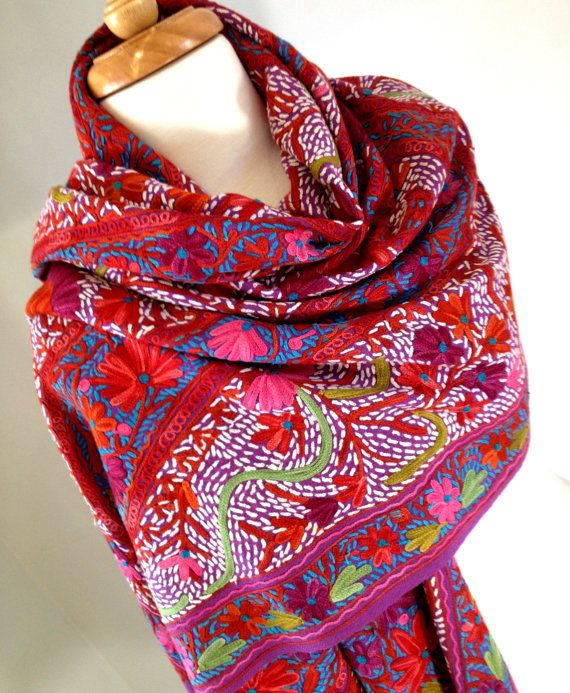KASHMIR SHAWL Handmade Embroidered Wrap Scarf by KashmirCouture