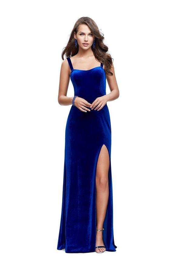 Charming Sexy Royal Blue Velvet Prom Dresses Spaghetti Long Party