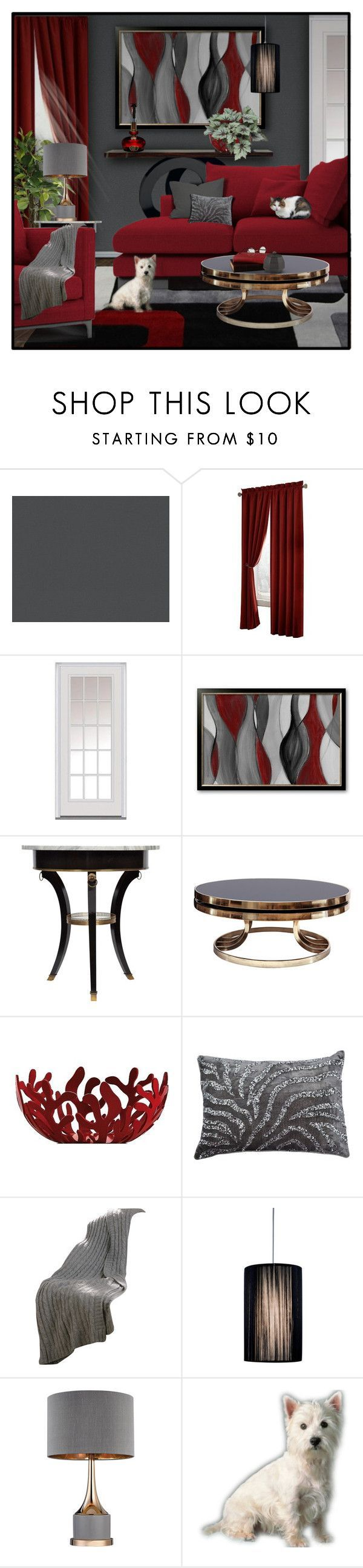 """""""2/5 RED + GREY Living Room"""" by signaturenails-dstanley :heart: liked on Polyvore featuring interior, interiors, interior design, home, home decor, interior decorating, Maytex, Milliken, Alessi and living room"""