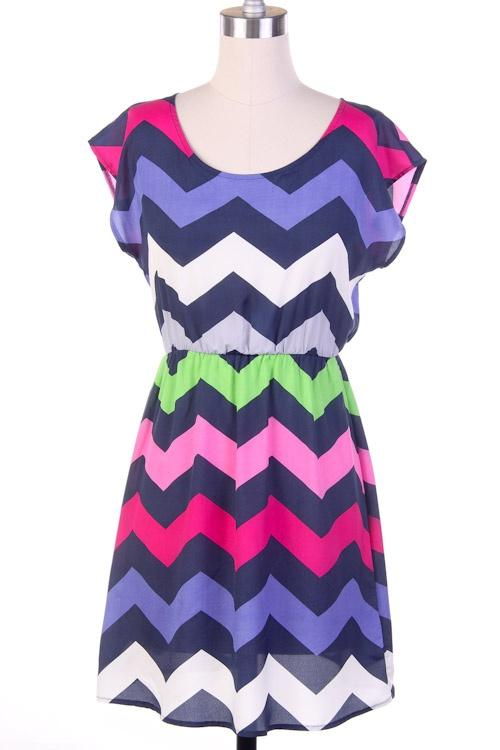 Colorful chevron dress