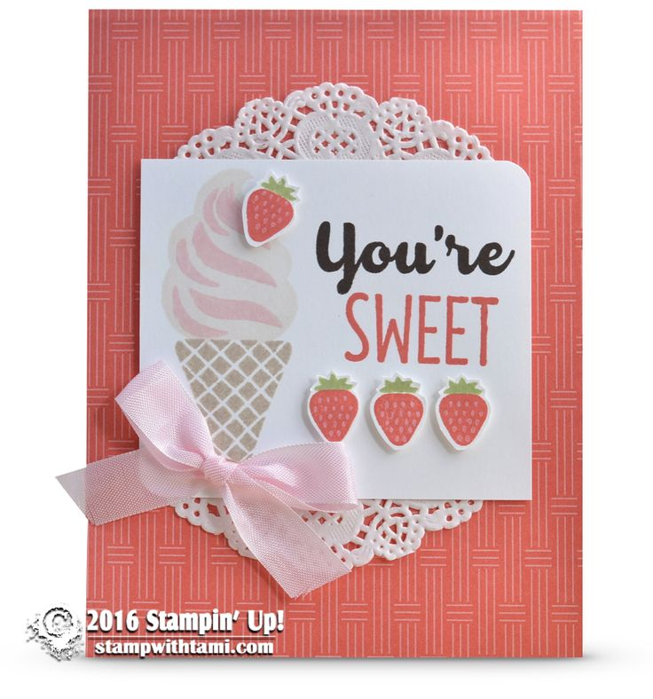 SNEAK PEEK: Cool Treats Strawberry Ice Cream Cone Card | Stampin Up Demonstrator - Tami White - Stamp With Tami Crafting and Card-Making Stampin Up blog
