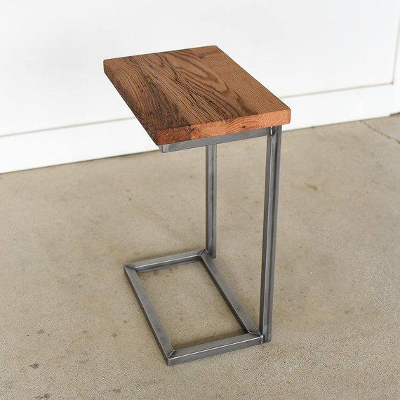 Wide Reclaimed Wood C Table Industrial Metal C End Table