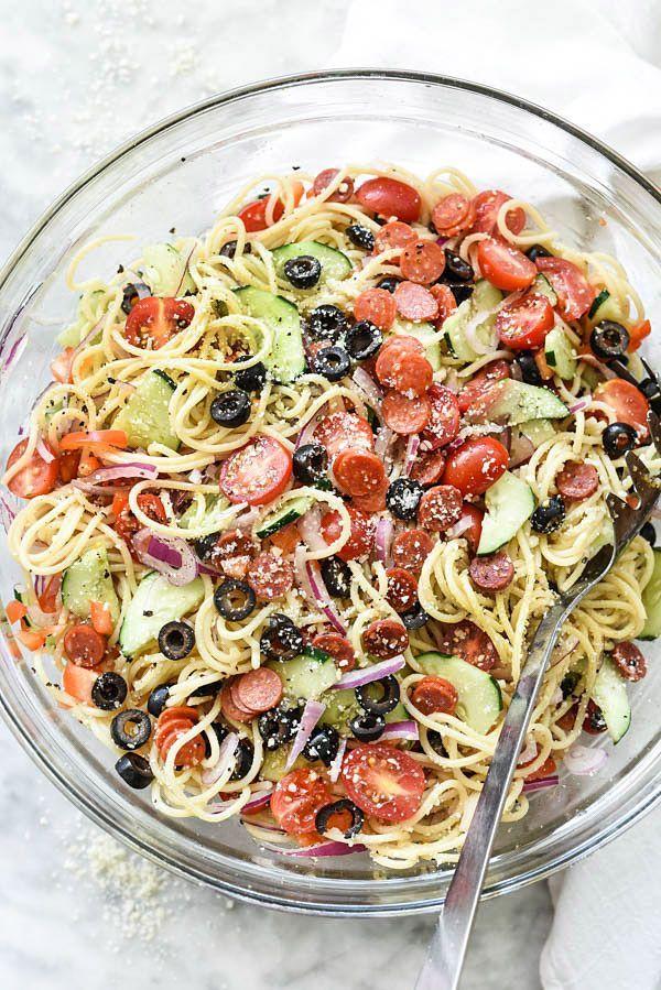 Easy Italian Spaghetti Pasta Salad | foodiecrush | Bloglovin'