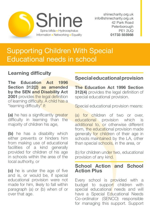 the special needs and disability act The send system applies to all children and young people with special educational needs and disabilities aged 0-25, as long as they are in education or training the support received by a child or young person with a learning disability will vary significantly depending on their needs.