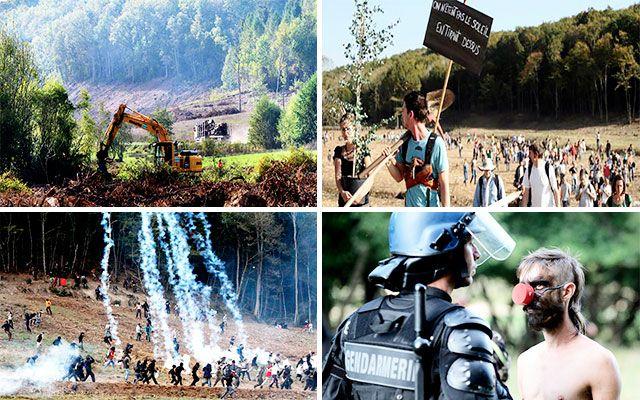 """Retour en images sur le """"Barrage de Sivens"""". Les opposants au projet de barrage de Sivens occupent les lieux."""