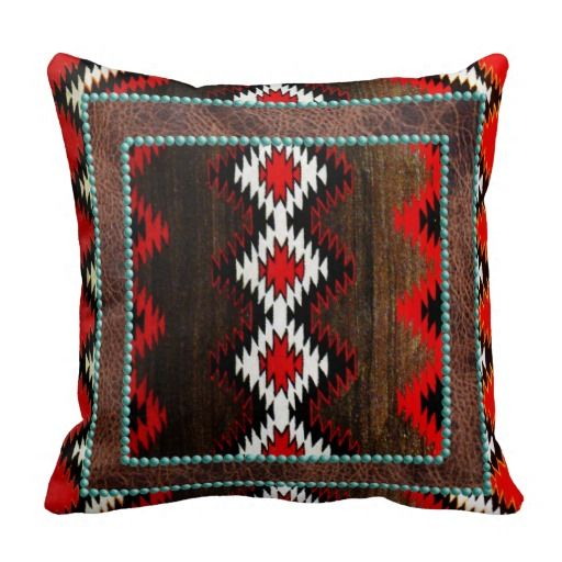 Native American Indian Red & Brown Tribal Print Pillow