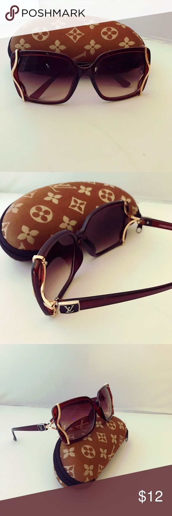Monogrammed Large  Wave Frame Sunglasses 😎w/Case Monogrammed Replica Large Wave Square Frame Sunglasses w/Case like new condition 🤓 Accessories Sunglasses