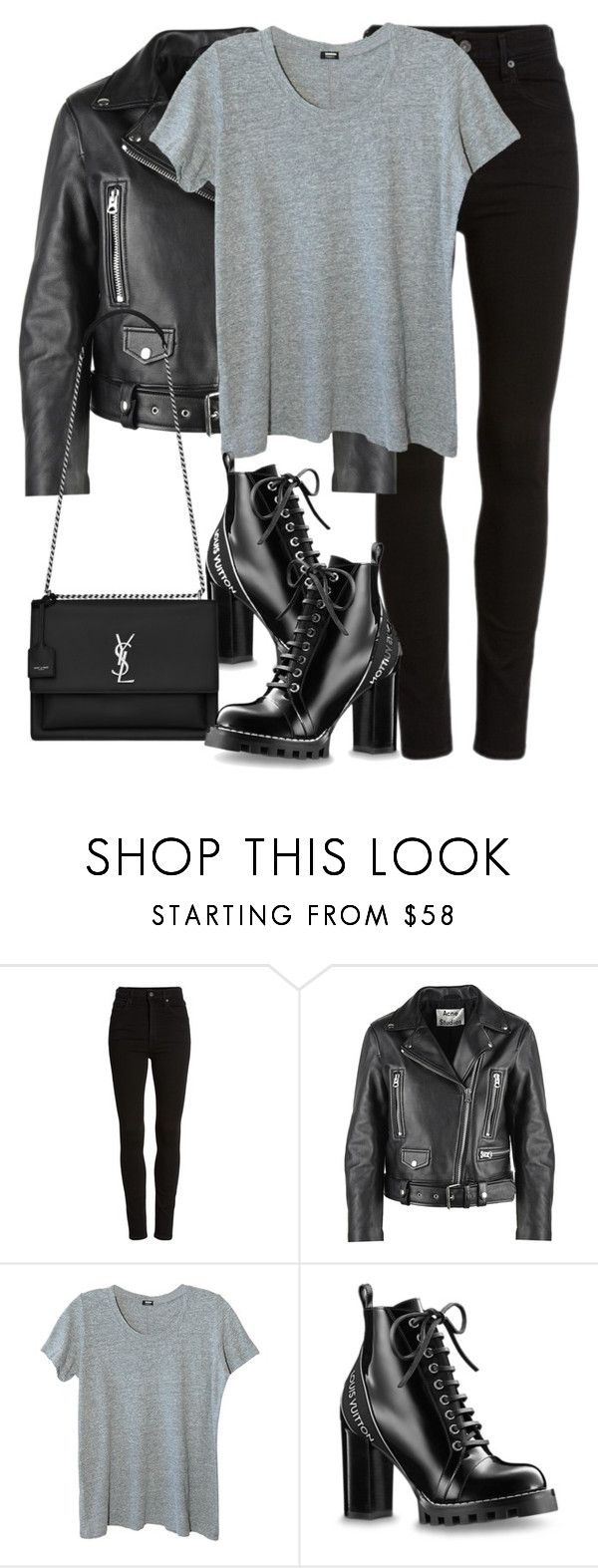"""""""Untitled #3287"""" by elenaday on Polyvore featuring Citizens of Humanity, Acne Studios, Monrow and Yves Saint Laurent"""
