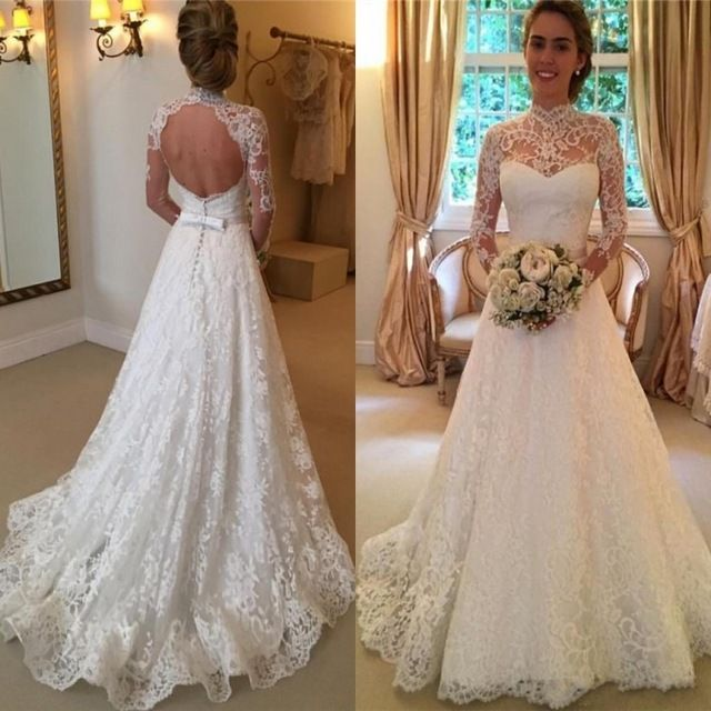 Vintage Lace Wedding Dresses High Neck Illusion Sleeved Open Back Aline Wedding…