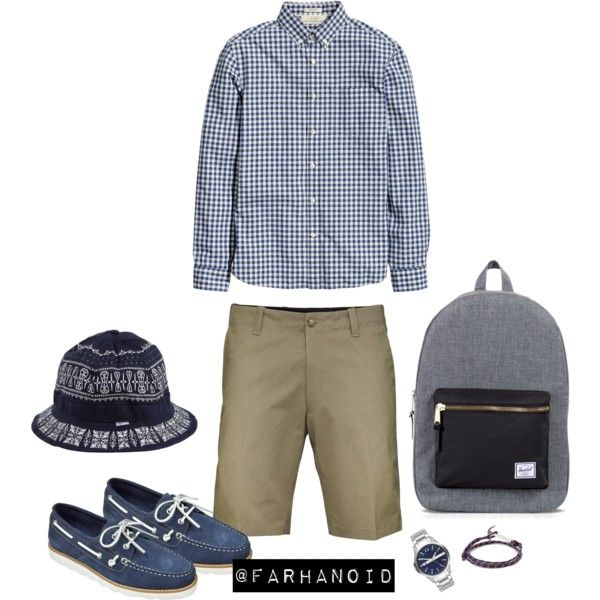 Navy Crooks by farhanoid on Polyvore featuring Armani Exchange, MIANSAI and Herschel