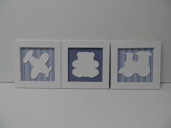 Kit de 3 quadros para quarto de menino, fundo forrado com tecido de algodão moldura forrada com tecido de algodão e apliques em MDF. Pintura com tinta PVA látex. Vendemos unitário e fazemos na cor que desejar. R$ 105,00