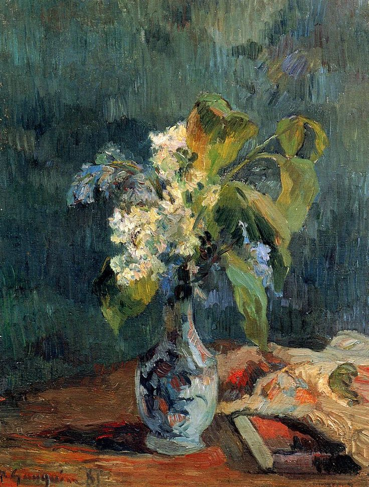 """""""Lilac Bouquet""""  --  1885  --  Paul Gauguin  --  French  --  Oil on canvas  --  Private Collection"""