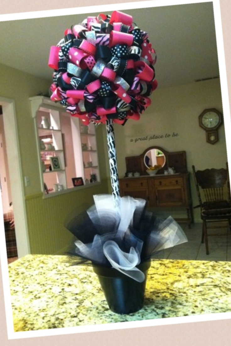 Diy Topiary Made Out Of Styrofoam Balls And Ribbon Kids