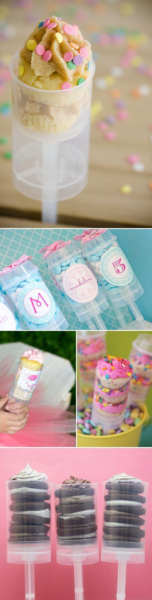 push-up cakes: Party Favors, Push Pop, Cakes Pop, Party Treats, Pushup Cakes, Cute Idea, Birthday Idea, Party Idea, Party Cakes
