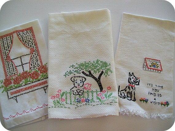 Vintage Kittens Doing Chores 7 Days of The Week Dish Towels Embroidered
