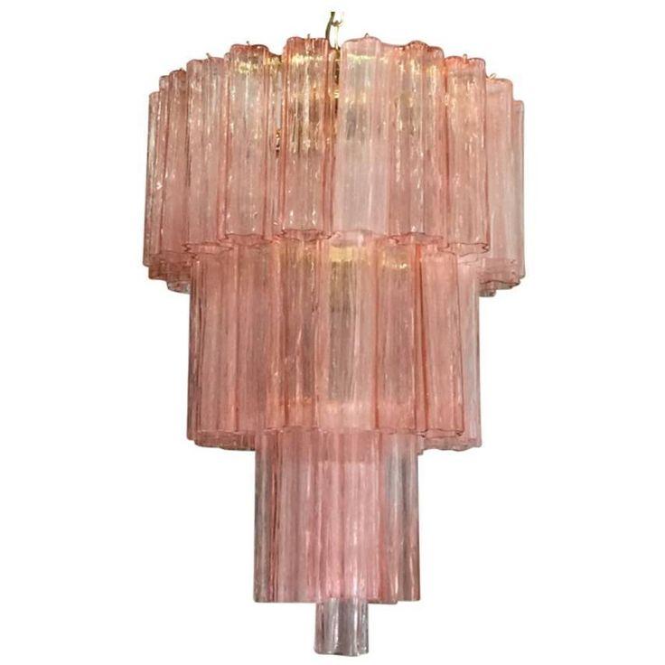 Set of Ten Murano Pink Tronchi Chandelier by Venini