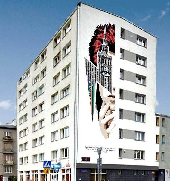 David Bowie mural in Zoliborz, Warszawa