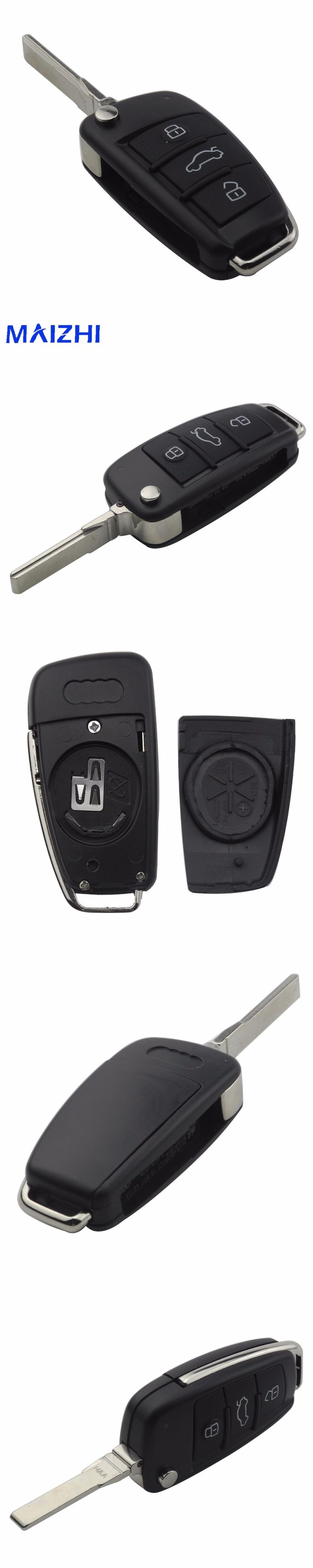 maizhi 3 Buttons Folding Flip Car Key Remote Case Shell For Audi A2 A3 A4 A6 A6L A8 TT Car Cover Fob