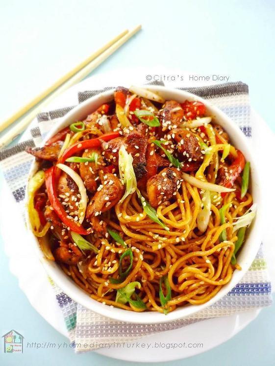 Citra's Home Diary: Chicken/ beef teriyaki noodle bowl with homemade teriyaki sauce