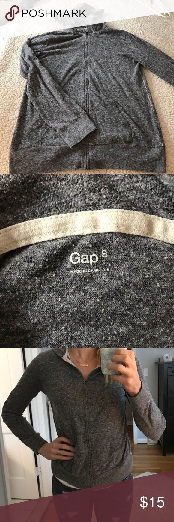 Lightweight Grey zip up hoodie Gap, lightweight Grey zip up hoodie.  Not sweatshirt material.  Very casual.  Good for lounge wear GAP Tops Sweatshirts & Hoodies