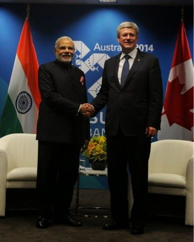 PM Narendra Modi with Canadian PM Steven Harper..Narendra Modi in Australia G20 .. Modi in Australia