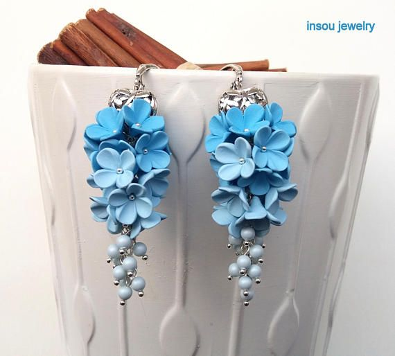 Light Blue Earrings Flower Earrings Light Blue Dangle
