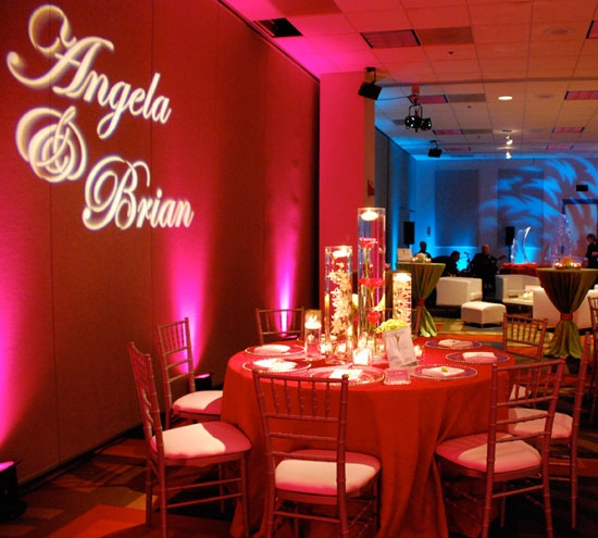 cheap wedding lighting ideas. Custom Monogrammed Gobo - Great Inexpensive Touch To Personalize An Event. Cheap Wedding Lighting Ideas