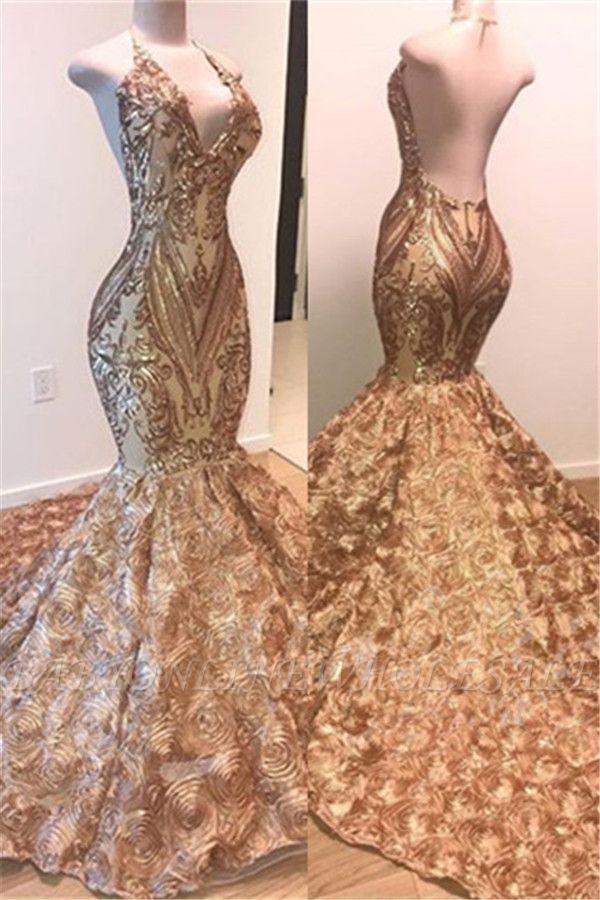 glamorous gold sequins sleeveless prom dress shiny mermaid