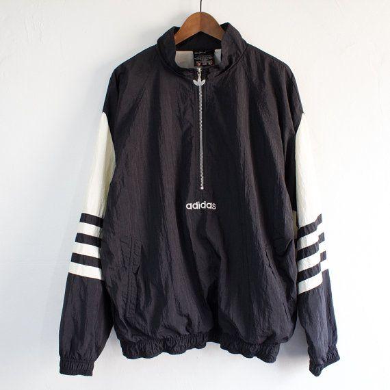 Vintage 90's Adidas Black Pullover Windbreaker por StreetDeco