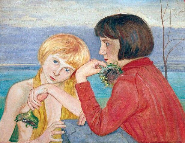 Wlastimil HOFMAN (1881 - 1970)  Dwie dziewczynki ze słonecznikami olej, tektura, 54 x 66 cm; sygn. p.d. Wlastimil / Hofman / 1937