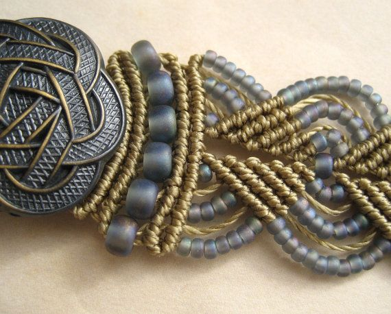 celtic knot beaded macrame bracelet silver blue by. Black Bedroom Furniture Sets. Home Design Ideas