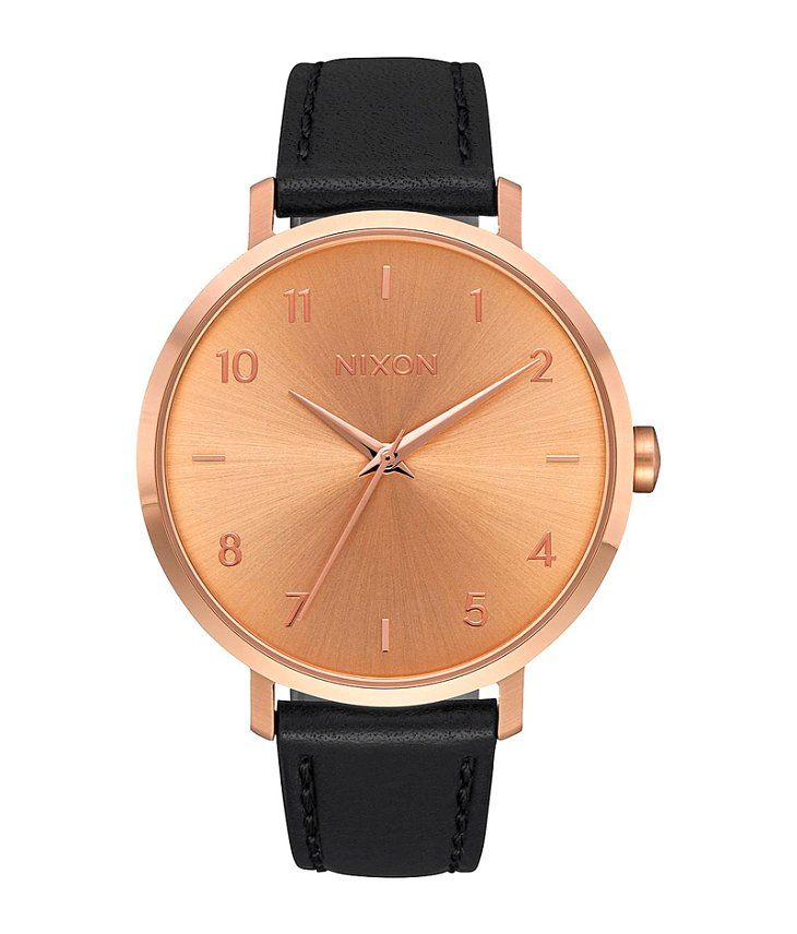 Nixon The Arrow Watch - Women's Watches in Rose Gold Black   Buckle