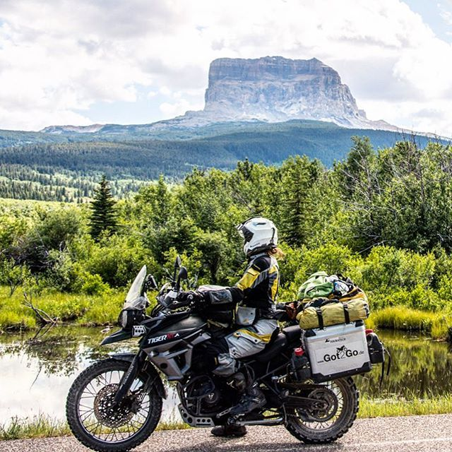 Hello little, weird mountain. When crossing from Canada to Montana and going to Glacier national park I was not expecting to find something like Chief Mountain. #chiefmountain #montana #montanagram #ridemontana #triumphtiger #triumphtiger800 #triumphmotorcycles #officialtriumph #advrider #advaddicts #overlanding #motolife #bikergirlsofinstagram #fortheride #madeforadventure #touratech #whatsyour20 #cagelessadventure #goplaces #lifewasgood