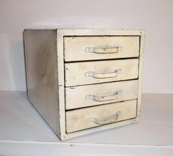 Vintage Metal Tool Box Primitive Ivory Cream Beige Industrial
