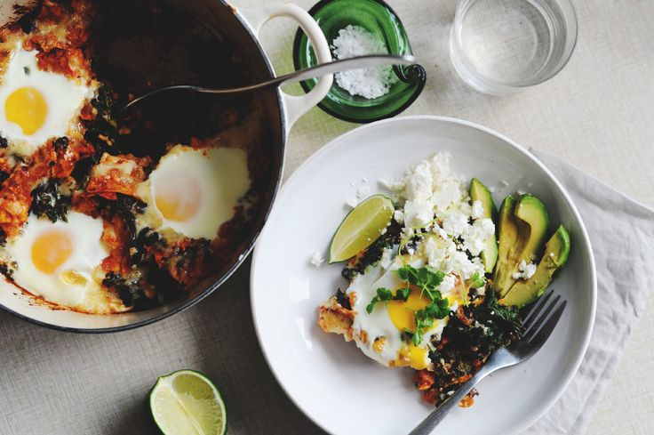 Chilaquiles with Black Beans and Kale