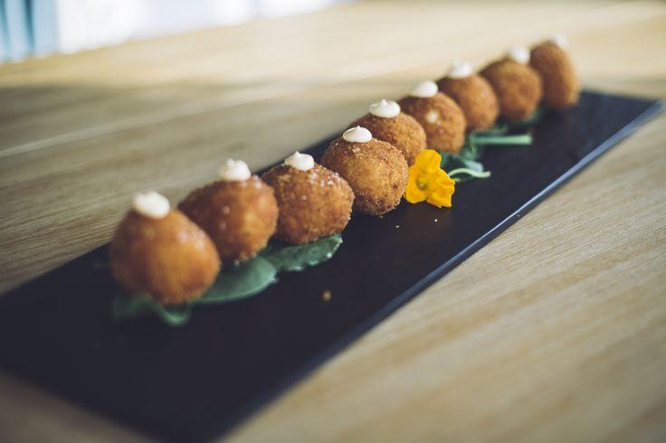 Porcini mushroom and taleggio arincini balls, hazelnut aioli