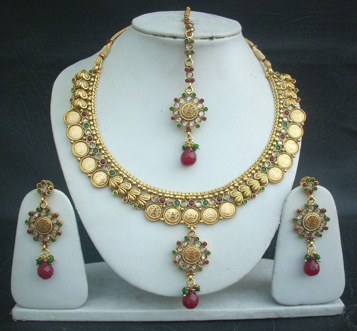 New Necklace Earring Set Gold Polki Jewellery Indian: Necklace Earrings Tikka South Indian Coin Jewelry Polki