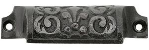 "3 5/8"" Cast Iron Fleur De Lis Bin Pull With Lacquered Antique Finish 