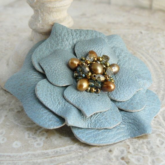 Ruffles Beaded Leather Flower Pin in Oracle ❤ by Viridian on Etsy: